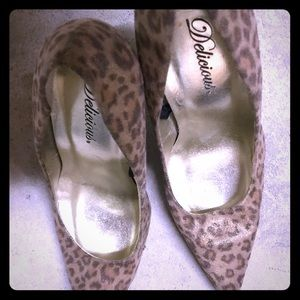 Cheetah with gold heels. Size 8 1/2